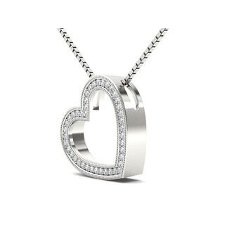 De Couer 10k White Gold 1/8ct TDW Diamond Heart Pendant