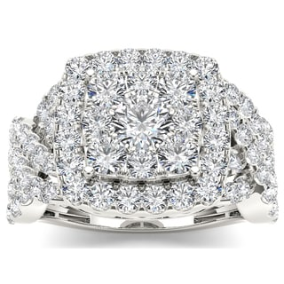 De Couer 14k White Gold 2ct TDW Diamond Luxurious Cluster Ring