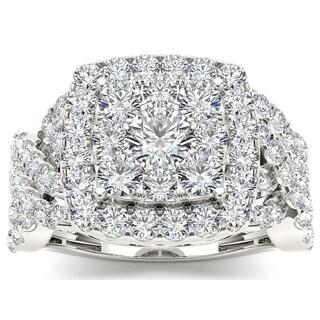De Couer 14k White Gold 2ct TDW Diamond Luxurious Cluster Ring
