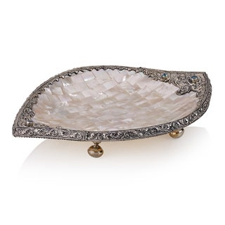 Neda Behnam Mother of Pearl Leaf Shape Dish Home Decor