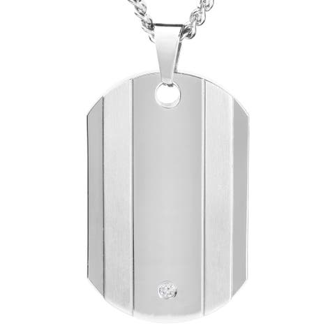 West Coast Jewelry Men's Titanium Accent Diamond Dog Tag Necklace
