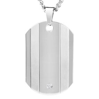 West Coast Jewelry Men's Titanium Accent Diamond Dog Tag Necklace
