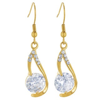 Goldplated Stainless Steel and Cubic Zirconia Dangle Earrings