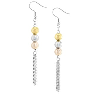Elya Stainless Steel Sphere and Cubic Zirconia Tassle Dangle Earrings