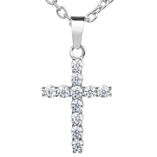 Elya Stainless Steel Cubic Zirconia Cross Pendant Necklace