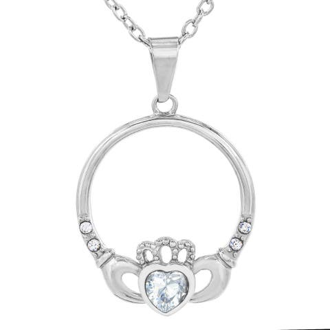 Stainless Steel Crystal Heart Claddagh Pendant Necklace - Silver