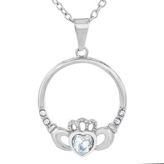 Stainless Steel Crystal Heart Claddagh Pendant Necklace