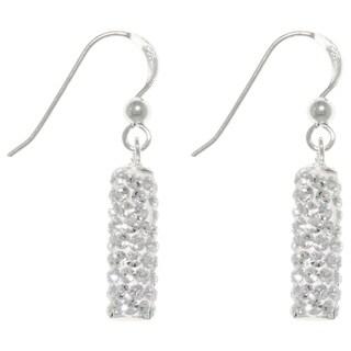 Sterling Silver Crystal Glass Sparkling Rectangular Dangle Earrings - White