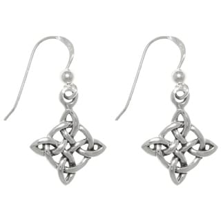 Carolina Glamour Collection Sterling Silver Celtic Good Luck Knot Dangle Earrings