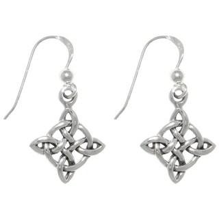 Sterling Silver Celtic Good Luck Knot Dangle Earrings