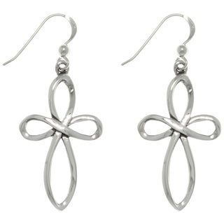 Carolina Glamour Collection Sterling Silver Open Weave Faith Cross Dangle Earrings