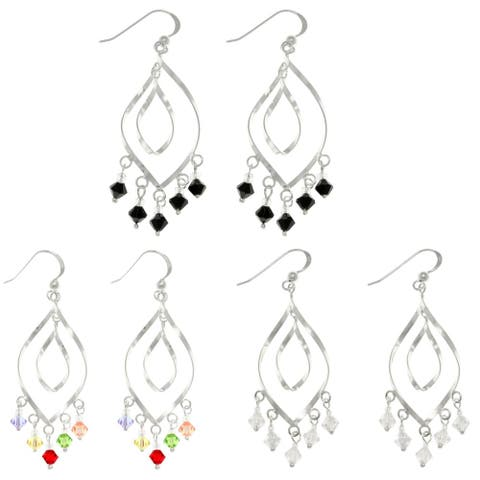 Sterling Silver Crystal Glass Accent Chandelier Earrings - White