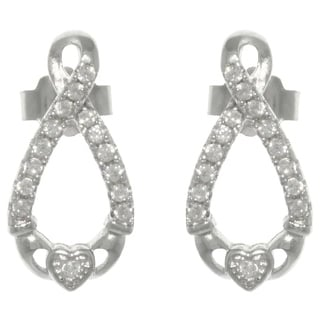 Carolina Glamour Collection Sterling Silver Pave Cubic Zirconia Infinity Claddagh Post Earrings