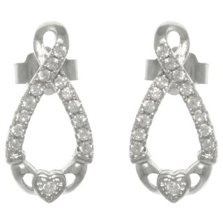 Sterling Silver Pave Cubic Zirconia Infinity Claddagh Post Earrings