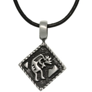 Carolina Glamour Collection Pewter Diamond Shaped Kokopelli Southwestern Pendant on Black Leather Necklace