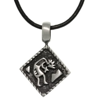 Pewter Diamond Shaped Kokopelli Southwestern Pendant on Black Leather Necklace
