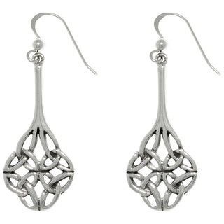 Carolina Glamour Collection Sterling Silver Four Sided Celtic Trinity Knot Long Dangle Earrings