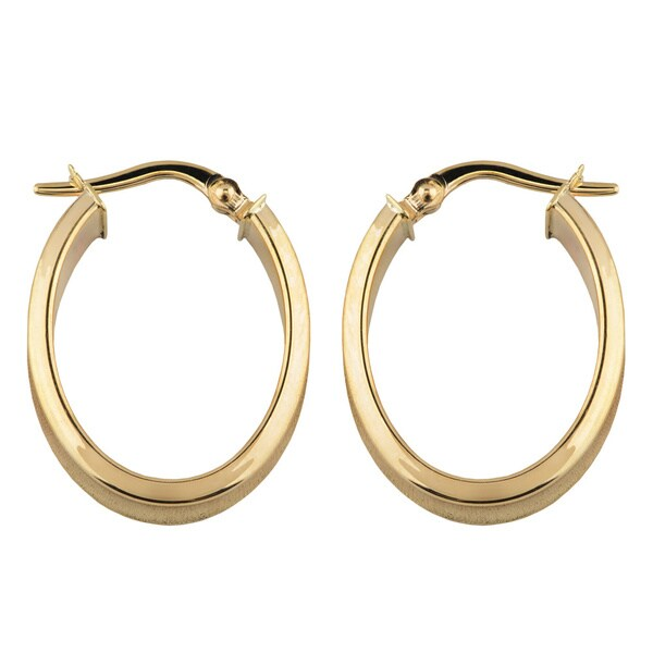10K Yellow// White Gold Small Oval Fancy Hoop Earring with Saddle Back Clasp with Hinged Clasp