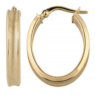 Fremada 10k Yellow Gold High Polish and Satin Finish Oval Hoop Earrings