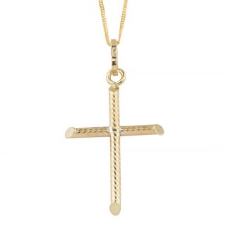 Fremada 10k Gold Textured Cross Pendant on Gold-filled Singapore Chain Necklace