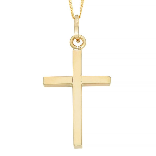 Fremada 10k Yellow Gold Cross Pendant on Gold-filled Singapore Chain Necklace