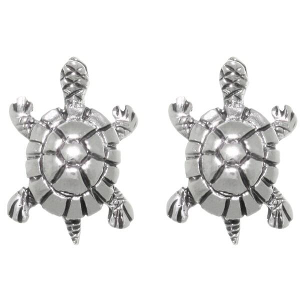 Sterling Silver Lake Turtle Stud Post Earrings