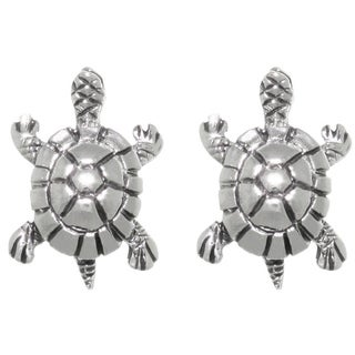 Carolina Glamour Collection Sterling Silver Lake Turtle Stud Post Earrings