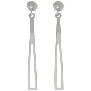 Carolina Glamour Collection Sterling Silver Linear Triangle Long Dangle Post Earrings
