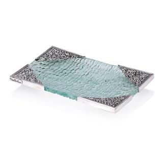 Neda Behnam Handmade Spun Glass and Sterling Silver Rectangle Dish