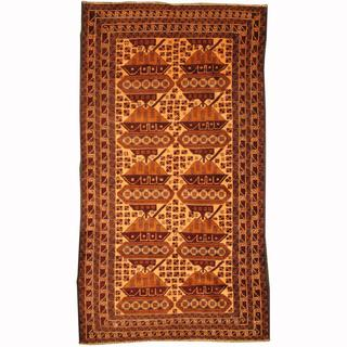 Herat Oriental Afghan Hand-knotted Tribal Balouchi Ivory/ Brown Wool Rug (3'5 x 6'3)