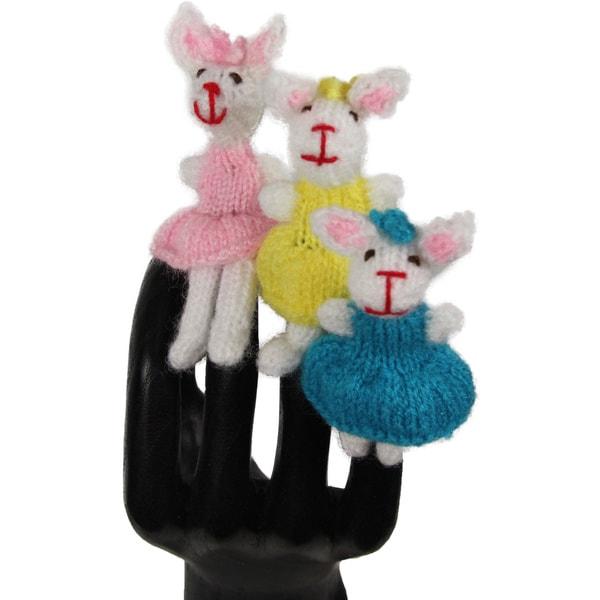Three Bunnies Wool Blend Finger Puppet Set (Peru)