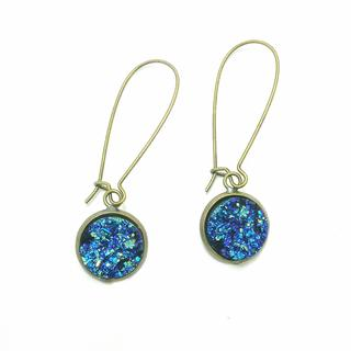 Pretty Little Style Brass Blue Acrylic Druzy Dangle Earrings