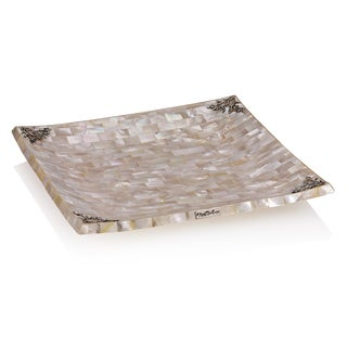 10.25-inch Neda Behnam Home Decor Sterling Silver Mother of Pearl Square Tray Dish