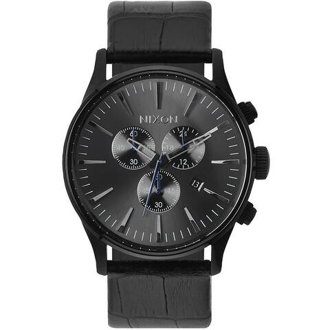 Nixon Men's Sentry Quartz Black Leather Stainless Steel Case Watch