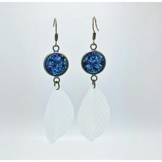 Pretty Little Style Brass Blue Acrylic Druzy and Feather Dangle Earrings