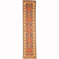 Handmade Herat Oriental Afghan Tribal Balouchi Blue/ Red Wool Rug (Afghanistan) - 2'1 x 9'