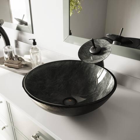 VIGO Grey Onyx Glass Vessel Bathroom Sink