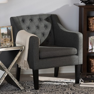 Baxton Studio Brittany Upholstered Button Tufted Modern Club Chair