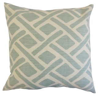 Satchel 18-inch Feather and Down Filled Geometric Lagoon Throw Pillow