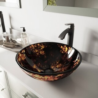 VIGO Brown and Gold Fusion Glass Vessel Sink and Linus Faucet Set in Antique Rubbed Bronze Finish