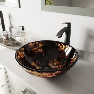 VIGO Brown and Gold Fusion Glass Vessel Sink and Linus Faucet Set