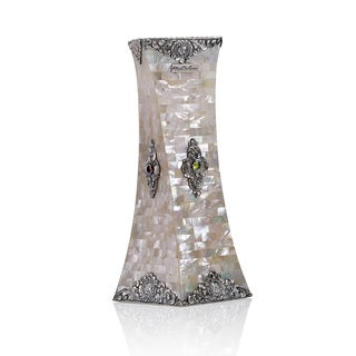 Neda Behnam Sterling Silver Mother Of Pearl Decorative Spiral Square Vase