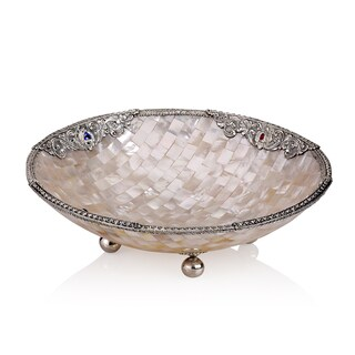 Neda Behnam Sterling Silver Mother of Pearl and Genuine Gemstone Round Bowl