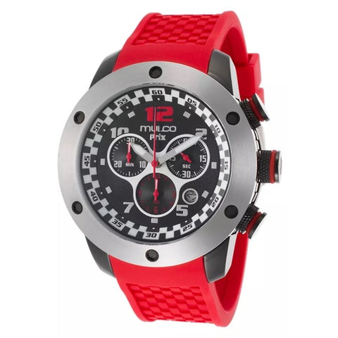 Mulco Men's 'Prix' Stainless Steel And Black Pvd Steel Chronograph Watch