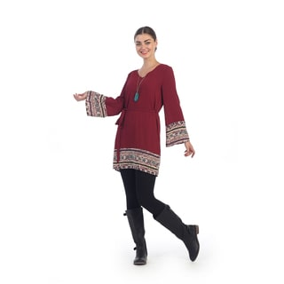 Hadari Women's Contemporary Tribal Draped Sleeve Shift Dress
