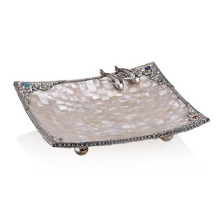 8-inch Neda Behnam Home Decor Sterling Silver Gemstone and Mother of Pearl Koi Motif Tray