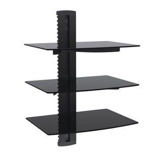 Arrowmounts Aluminum/ Tempered Glass Black Triple Deck DVD Mount