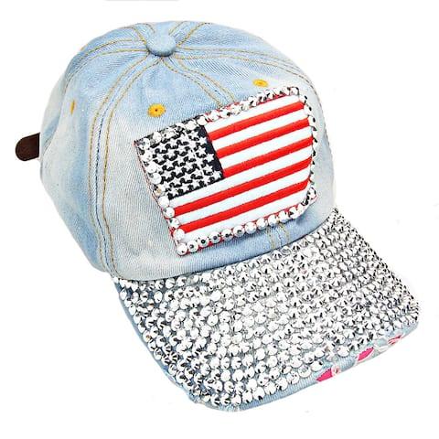 Patriotic USA Flag Distressed Light Denim Rhinestone Baseball Cap Size - Large