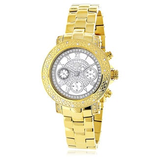 Luxurman Women's Yellow Gold-plated 1/3ct TDW Montana White Diamond Chronograph Watch with Metal Ban