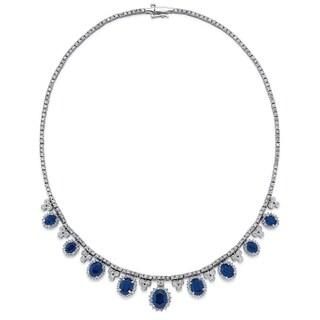 14k White Gold 6 1/2ct TDW White Diamond Sapphire Necklace (G-H, SI1-SI2)